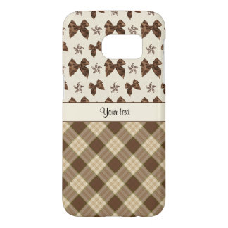 Brown Checks & Beautiful Bows Samsung Galaxy S7 Case