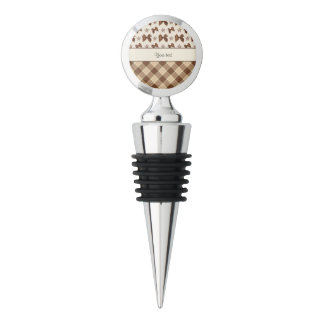 Brown Checks & Beautiful Bows Wine Stopper