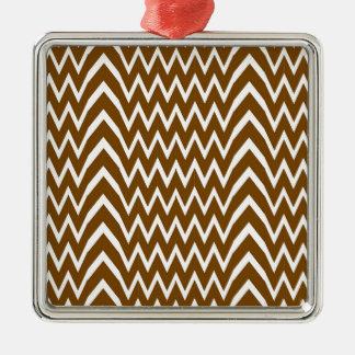 Brown Chevron Illusion Metal Ornament