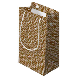 Brown Chevron Illusion Small Gift Bag