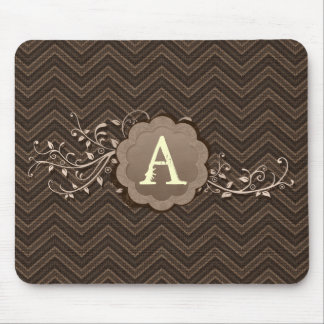 Brown Chevron on Burlap with Monogram Mouse Pad