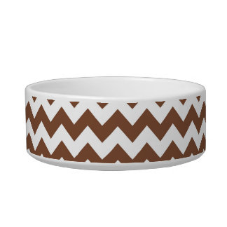 Brown Chevron Zig-Zag Pattern Cat Food Bowl
