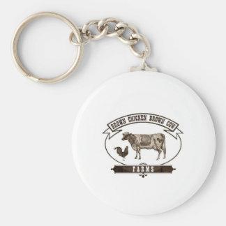 Brown Chicken Brown Cow Farms Basic Round Button Keychain