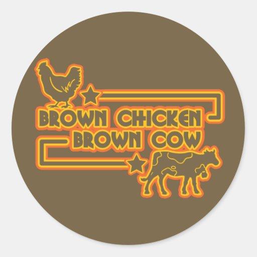 Brown Chicken Brown Cow Round Sticker