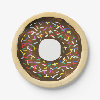 Brown Chocolate Sprinkle Donuts Birthday Party Paper Plate