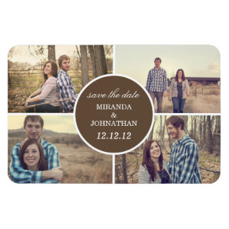 Brown Circle Design Photo Save The Date Magnet