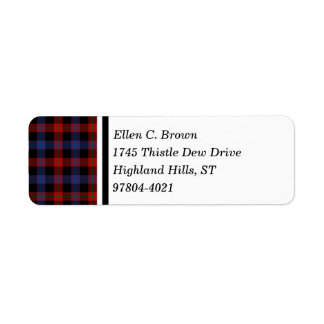 Brown Clan Red and Blue Scottish Tartan Return Address Label