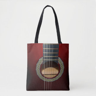 Brown Classic Guitar, Full Print Shopping Bag