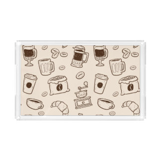 Brown coffee beans illustrated elements pattern acrylic tray