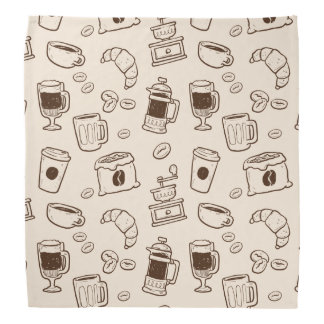 Brown coffee beans illustrated elements pattern bandana