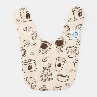 Brown coffee beans illustrated elements pattern bib