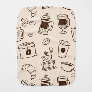 Brown coffee beans illustrated elements pattern burp cloth