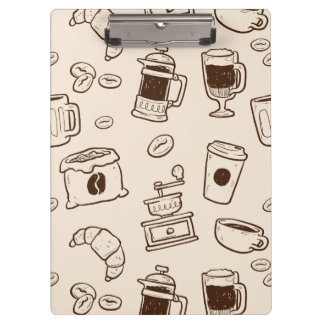 Brown coffee beans illustrated elements pattern clipboard
