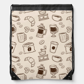 Brown coffee beans illustrated elements pattern drawstring bag
