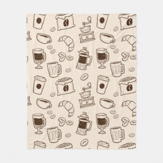 Brown coffee beans illustrated elements pattern fleece blanket