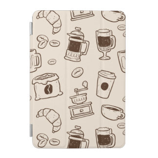 Brown coffee beans illustrated elements pattern iPad mini cover