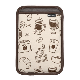 Brown coffee beans illustrated elements pattern iPad mini sleeve