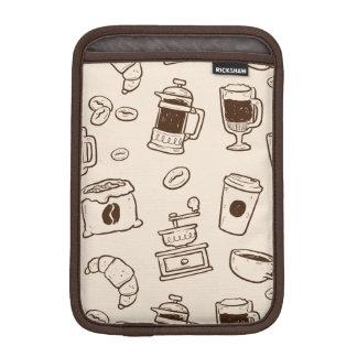 Brown coffee beans illustrated elements pattern iPad mini sleeve