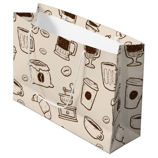 Brown coffee beans illustrated elements pattern large gift bag