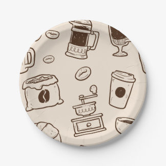 Brown coffee beans illustrated elements pattern paper plate