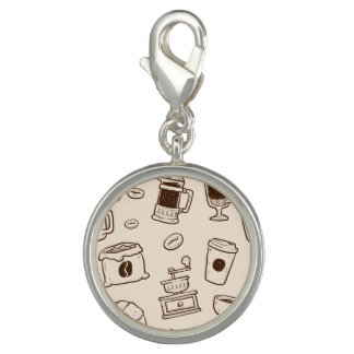 Brown coffee beans illustrated elements pattern photo charm