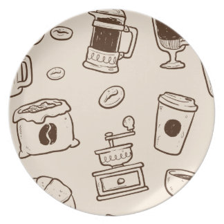 Brown coffee beans illustrated elements pattern plate