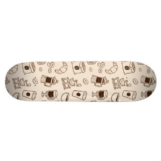 Brown coffee beans illustrated elements pattern skate board