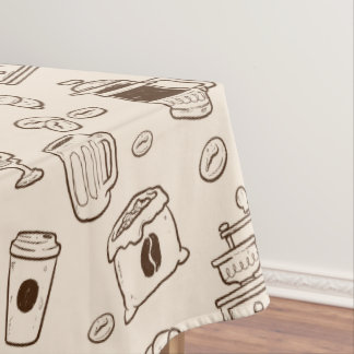 Brown coffee beans illustrated elements pattern tablecloth