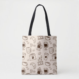 Brown coffee beans illustrated elements pattern tote bag