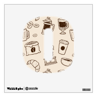Brown coffee beans illustrated elements pattern wall decal