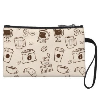 Brown coffee beans illustrated elements pattern wristlet