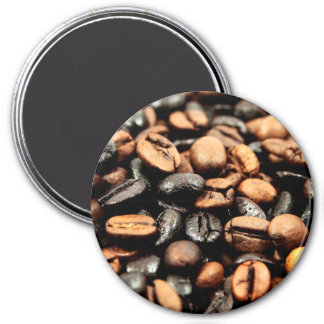 Brown Coffee Beans Photography 3 Inch Round Magnet