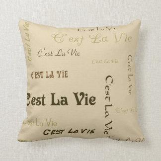 Brown Coffee C'est La Vie Throw Pillow