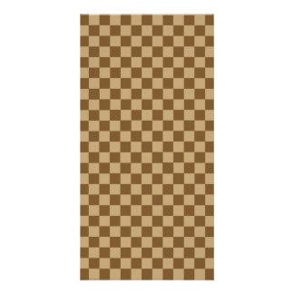 Brown Combination Classic Checkerboard Personalized Photo Card