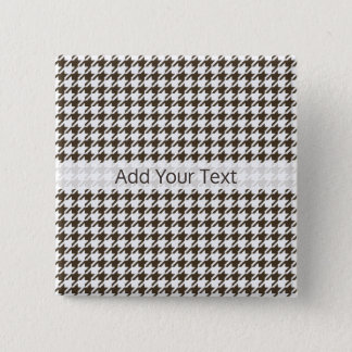 Brown Combination Houndstooth by Shirley Taylor 2 Inch Square Button
