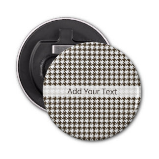 Brown Combination Houndstooth by Shirley Taylor Button Bottle Opener