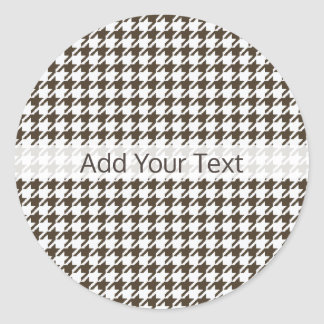 Brown Combination Houndstooth by Shirley Taylor Classic Round Sticker
