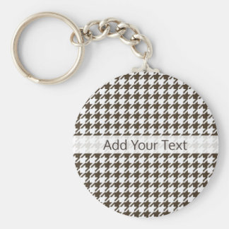 Brown Combination Houndstooth by Shirley Taylor Keychain