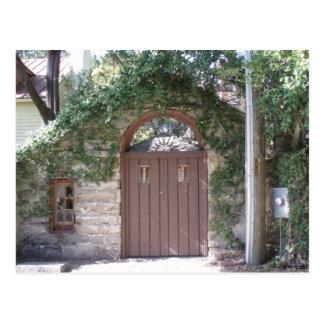 BROWN COURTYARD DOOR POSTCARD