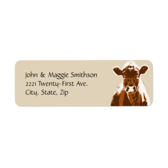 Brown Cow Farm Animal Custom Address Label