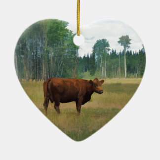 Brown Cow on a Horse and Cattle Ranch Ceramic Ornament