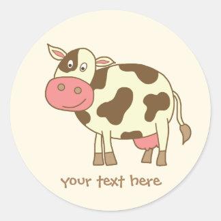 Brown Cow Round Sticker