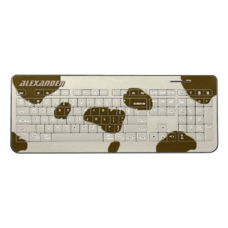 Brown Cow Spots Faux Skin Custom Name Wireless Keyboard