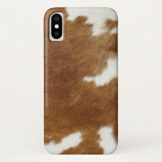 Brown Cowhide Print iPhone X Case