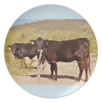 Brown Cows in Chrome Melamine Plate