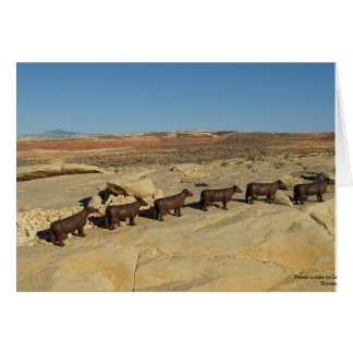 Brown Cows Walking in the Desert Card