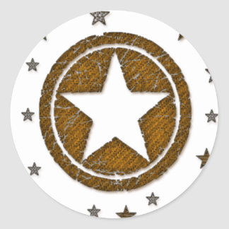 Brown Cracked Western Star Badge Stickers