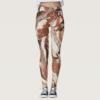 "Brown, & Cream Abstract Leggings - ""Cafe Au Lait"""