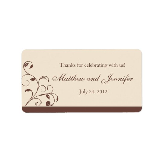 Brown & Cream Floral Curls Wedding Favour Labels
