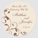 Brown & Cream Floral Curls Wedding Favour Labels Round Stickers